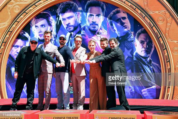 President of Marvel Studios/Producer Kevin Feige, Chris Hemsworth, Chris Evans, Robert Downey Jr., Scarlett Johansson, Jeremy Renner, and Mark...