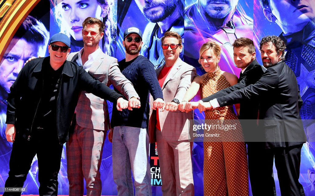 """Marvel Studios' """"Avengers: Endgame"""" Cast Place Their Hand Prints In Cement At TCL Chinese Theatre IMAX Forecourt : News Photo"""