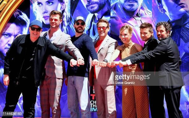 President of Marvel Studios/Producer Kevin Feige Chris Hemsworth Chris Evans Robert Downey Jr Scarlett Johansson Jeremy Renner and Mark Ruffalo...