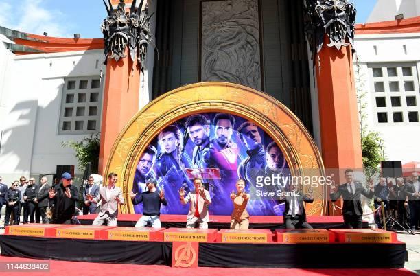 President of Marvel Studios/Producer Kevin Feige, Chris Hemsworth, Chris Evans, Robert Downey Jr., Scarlett Johansson, Jeremy Renner, and Mark...