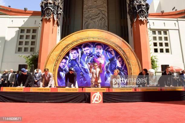 President of Marvel Studios/Producer Kevin Feige Chris Hemsworth Chris Evans Robert Downey Jr Scarlett Johansson Mark Ruffalo and Jeremy Renner...