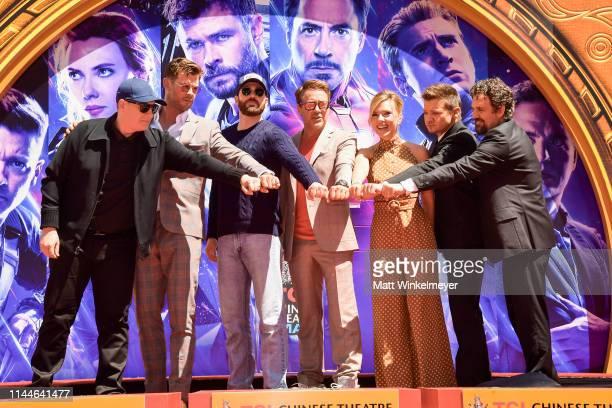 President of Marvel Studios/Producer Kevin Feige, Chris Hemsworth, Chris Evans, Robert Downey Jr., Scarlett Johansson, Mark Ruffalo, and Jeremy...