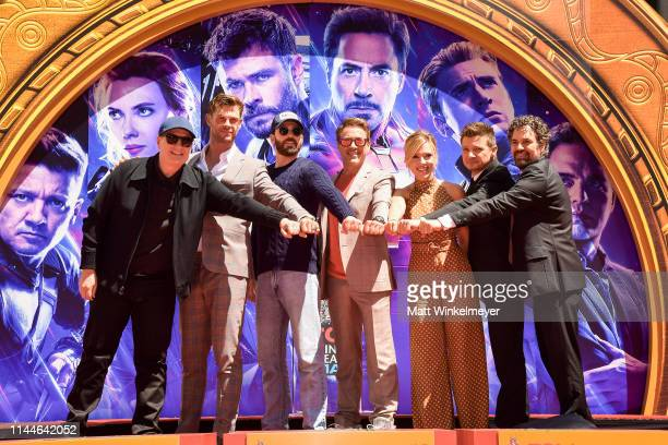 President of Marvel Studios/Producer Kevin Feige Chris Hemsworth Chris Evans Robert Downey Jr Scarlett Johansson Mark Ruffalo and Jeremy Renner...