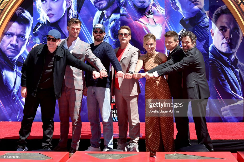 "Marvel Studios' ""Avengers: Endgame"" Cast Place Their Hand Prints In Cement At TCL Chinese Theatre IMAX Forecourt : News Photo"
