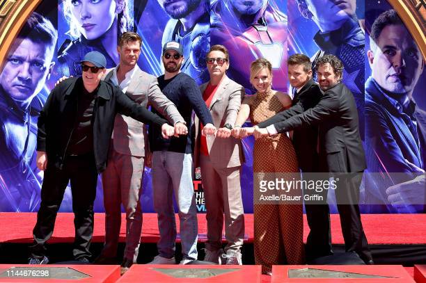 President of Marvel Studios/Producer Kevin Feige Chris Hemsworth Chris Evans Robert Downey Jr Scarlett Johansson Jeremy Renner and Mark Ruffalo...