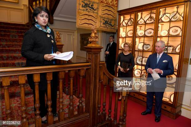 President of Mauritius and Chair of the Trust's 'Food Forever' Initiative Ameenah Gurib gives a speech alongside Prince Charles Prince of Wales and...