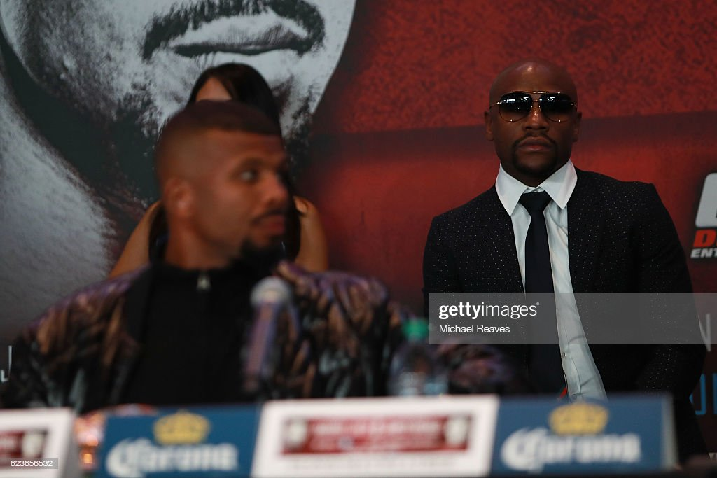 President of Mayweather Promotions Floyd Mayweather looks on during the press conference announcing the Badou Jack v James DeGale Super Middleweight World Title Unification Bout at Barclays Center on November 16, 2016 in the Brooklyn borough of New York City.