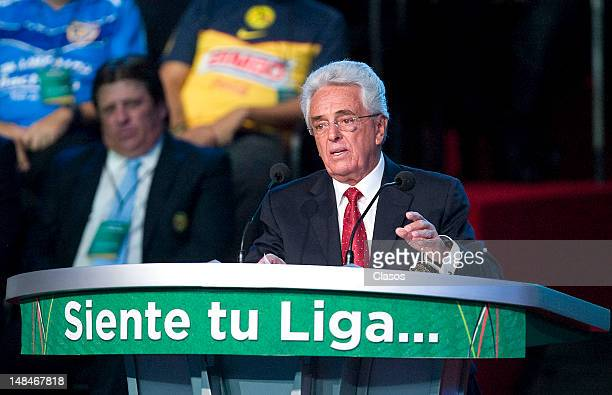 President of Mexican Soccer Federation Justino Compean speaks at the launch event of the New League MX and MX Ascent League of Mexican soccer on June...