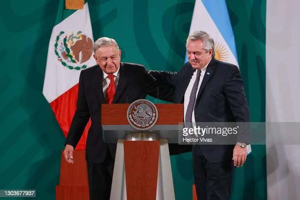 President of Mexico Andres Manuel Lopez Obrador and President of Argentina Alberto Fernandez greet during a press conference at Palacio Nacional on...