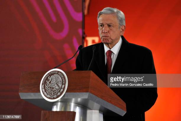 President of Mexico Andres Manuel Lopez Obrador gestures during his daily briefing at the National Palace on January 30 2019 in Mexico City Mexico