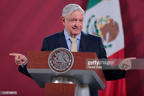President of Mexico Andres Manuel Lopez Obrador gestures during his daily morning briefing on June 10 2020 in Mexico City Mexico