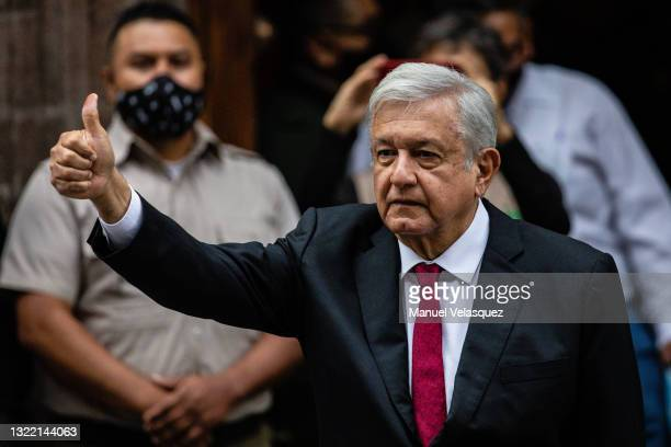 President of Mexico Andres Manuel Lopez Obrador gives a thumb up after voting at the polling place on June 06, 2021 in Mexico City, Mexico. A record...