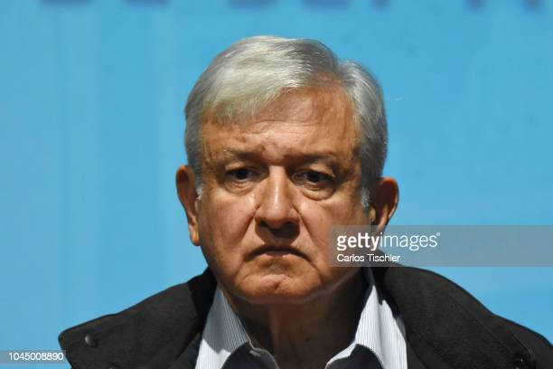 President of Mexico Andres Manuel Lopez Obrador looks on during a press conference after a meeting with relatives of missing students from Ayotzinapa...