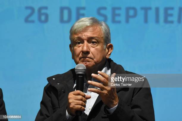 President of Mexico Andres Manuel Lopez Obrador speaks during a press conference after a meeting with relatives of missing students from Ayotzinapa...
