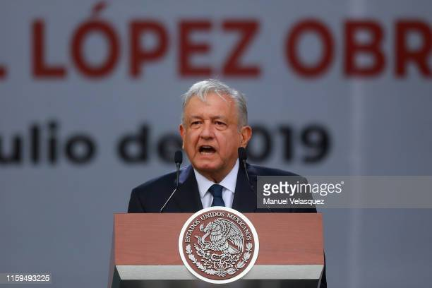 President of Mexico Andres Manuel Lopez Obrador speaks during a ceremony to celebrate his administration's first anniversary at Zocalo on July 01,...