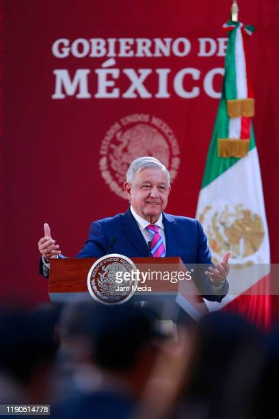 President of Mexico Andres Manuel Lopez Obrador speaks during the Mexican National Sports and Sports Merit Awards at Palacio Nacional on November 27...