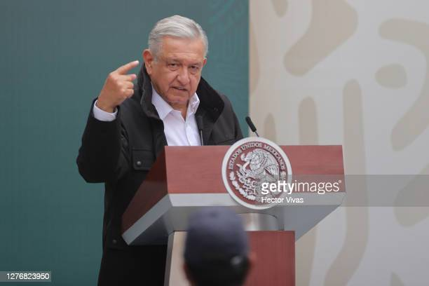 President of Mexico Andres Manuel Lopez Obrador speaks during the Ayotzinapa case report at Palacio Nacional on September 26, 2020 in Mexico City,...