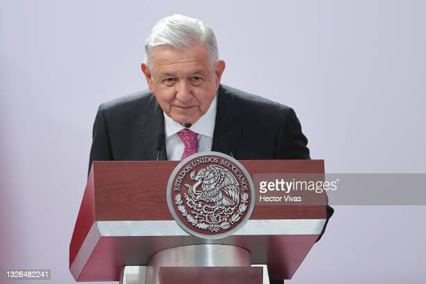 President of Mexico Andres Manuel Lopez Obrador speaks during the ceremony to commemorate the third year of Lopez Obrador's victory in the 2018...