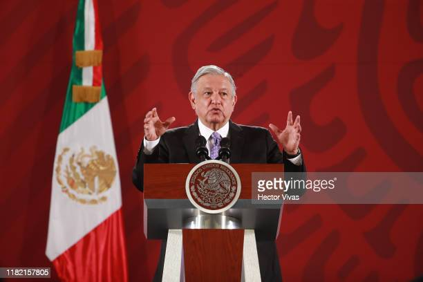 President of Mexico Andres Manuel Lopez Obrador speaks with the press during the Presidential Daily Morning Briefing on November 13 2019 in Mexico...