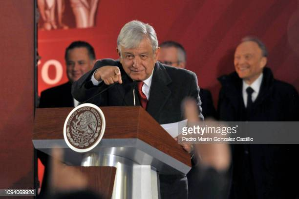 President of Mexico Andrés Manuel López Obrador points at a journalist during the morning press conference at National Palace on January 14 2019 in...