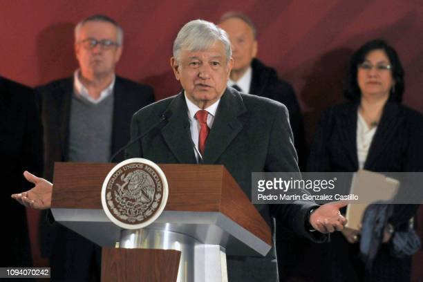 President of Mexico Andrés Manuel López Obrador speaks during the morning press conference at National Palace on January 14 2019 in Mexico City...