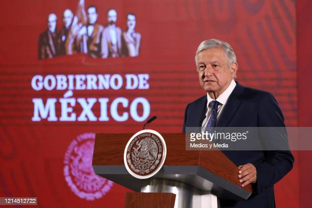 President of Mexico Andrés Manuel López Obrador speaks during the daily morning briefing amid Coronavirus outbreak at Palacio Nacional on March 24...