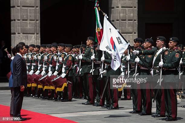 President of Mexico Enrique Peña Nieto and President of South Korea Park Geun-hye during a welcoming ceremony at Palacio Nacional on April 04, 2016...