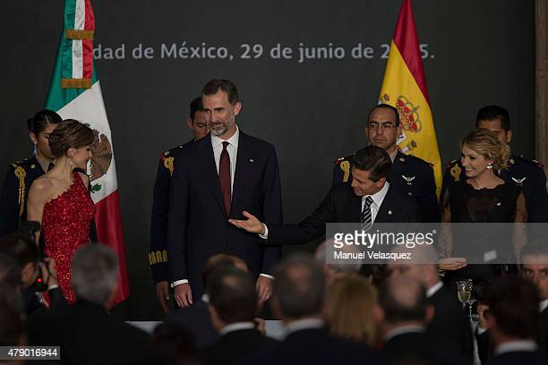 President of Mexico Enrique Peña Nieto speaks during a state dinner given to King Felipe VI and Queen Letizia of Spain as First Lady of Mexico...