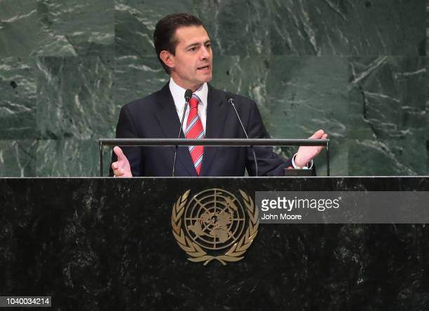 President of Mexico Enrique Pena Nieto addresses the United Nations General Assembly on September 25 2018 in New York City World leaders gathered for...