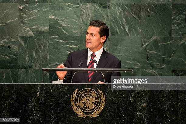 President of Mexico Enrique Pena Nieto addresses the United Nations General Assembly at UN headquarters September 20 2016 in New York City According...