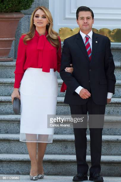 President of Mexico Enrique Pena Nieto and his wife Angelica Rivera arrive at the Zarzuela Palace on April 25 2018 in Madrid Spain
