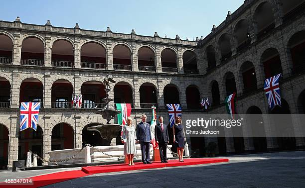 President of Mexico Enrique Pena Nieto and Prince Charles Prince of Wales Camilla Duchess of Cornwall and First Lady of Mexico Anjelica Rivera during...