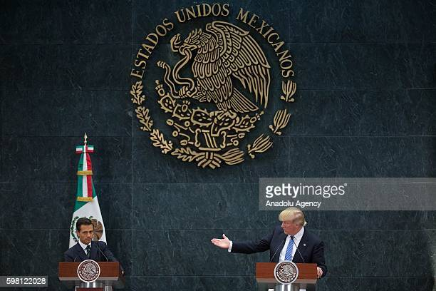 President of Mexico Enrique Pena Nieto and US Republican presidential candidate Donald Trump attend a meeting at Los Pinos presidential residence in...