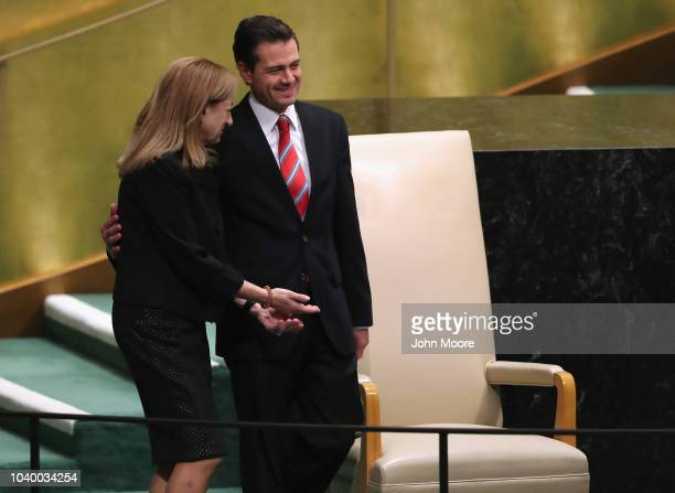 President of Mexico Enrique Pena Nieto arrives to address the United Nations General Assembly on September 25 2018 in New York City World leaders...