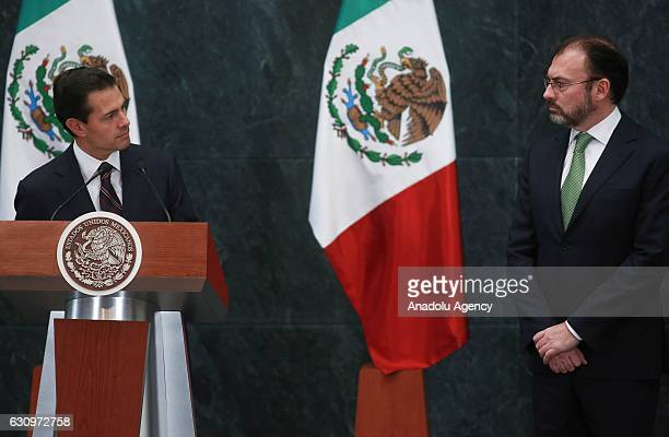 President of Mexico Enrique Pena Nieto delivers a speech during a press conference at Los Pinos Presidential Residence in Mexico City Mexico on...