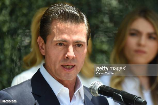 President of Mexico Enrique Pena Nieto speaks after voting during the Mexico 2018 Presidential Election on July 1 2018 in Mexico City Mexico the...
