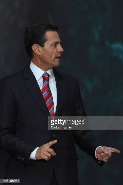 President of Mexico Enrique Pena Nieto speaks during a press conference after having a meeting with Norway's Prime Minister Erna Solberg as part of...