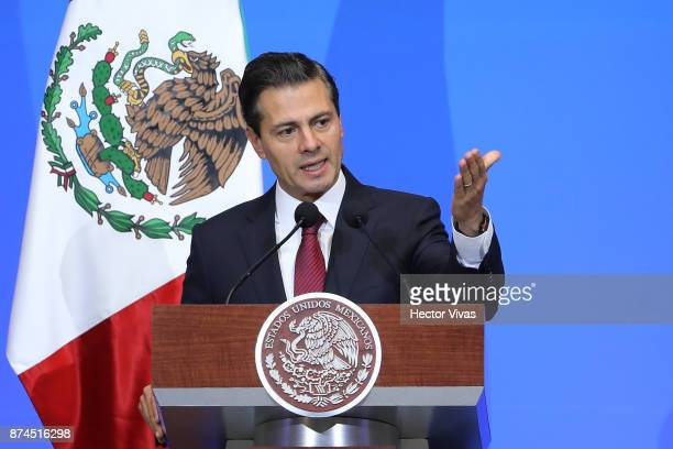 President of Mexico Enrique Pena Nieto speaks during the World Cancer Leaders Summit Welcome Ceremony at Palacio de Mineria as part of an official...