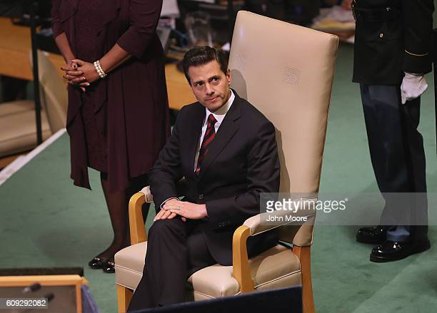 President of Mexico Enrique Pena Nieto waits to address the United Nations General Assembly on September 20 2016 in New York City Heads of state...