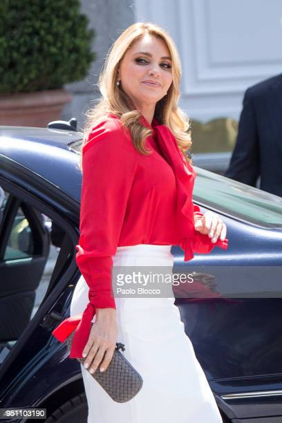 President of Mexico Enrique Pena Nieto wife's Angelica Rivera arrives at the Zarzuela Palace on April 25 2018 in Madrid Spain