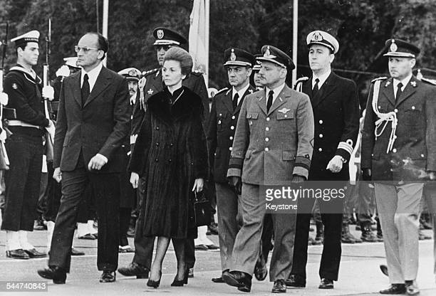 President of Mexico Luis Echeverria and President of Argentina Maria Estela de Peron reviewing the troops at Aeroparque Airfield Argentina July 19th...