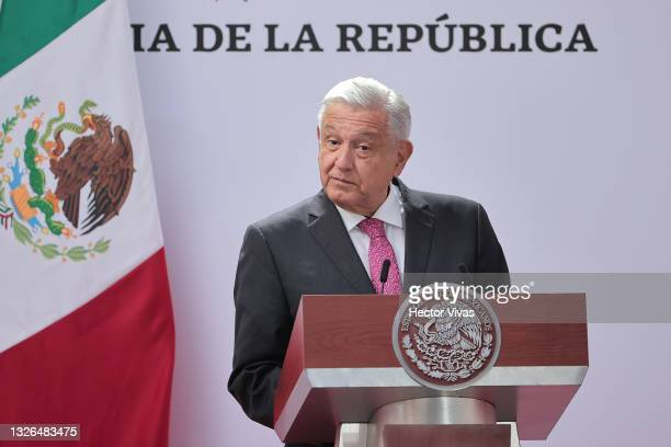 President of Mexico speaks Andres Manuel Lopez Obrador speaks during the ceremony to commemorate the third year of Lopez Obrador's victory in the...