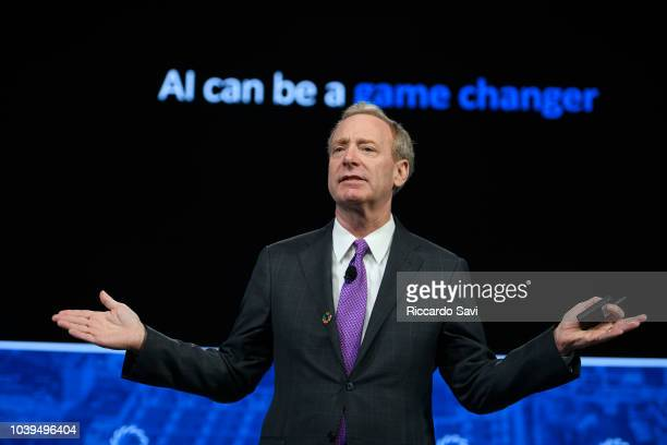 President of Microsoft Brad Smith speaks onstage during the 2018 Concordia Annual Summit - Day 1 at Grand Hyatt New York on September 24, 2018 in New...