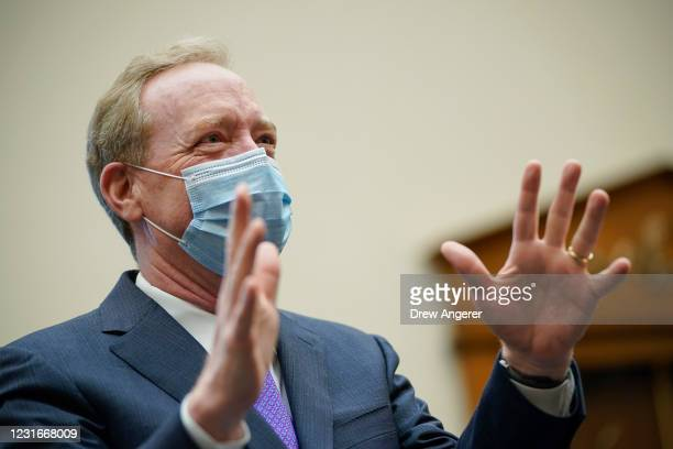 President of Microsoft Brad Smith testifies during a House Judiciary Subcommittee on Antitrust, Commercial, and Administrative Law hearing on...