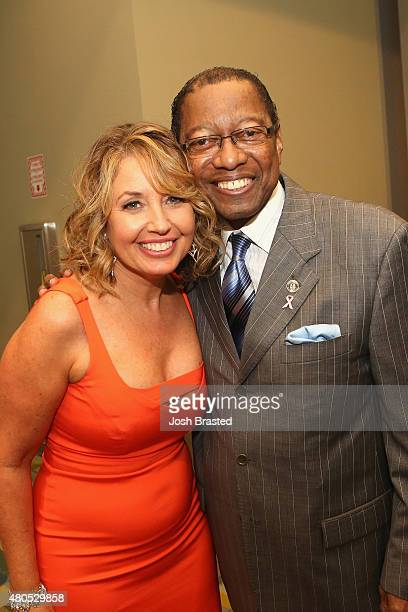 President of Miss Universe Organization Paula M Shugart and Mayor President of Baton Rouge Melvin Kip Holden attend 2015 Miss USA Pageant Only On...