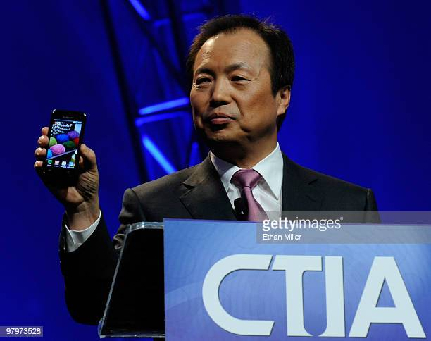 President of Mobile Communications Business for Samsung Electronics Co., Ltd. J.K. Shin unveils a new Samsung Galaxy S Android smartphone during his...