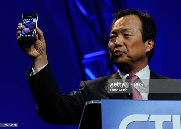 President of Mobile Communications Business for Samsung Electronics Co Ltd JK Shin unveils a new Samsung Galaxy S Android smartphone during his...