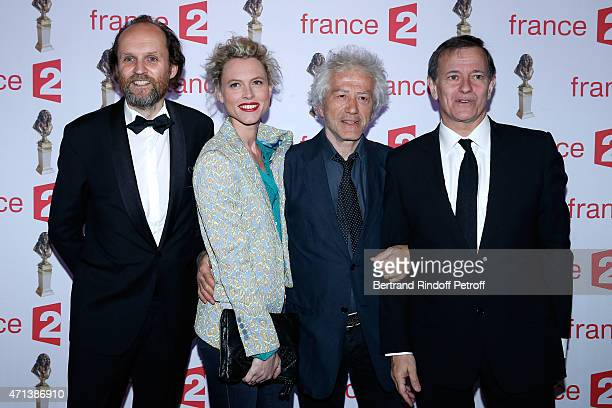 President of Molieres JeanMarc Dumontet Actor JeanLuc Moreau his wife Mathilde Penin and actor Francis Huster attend the 27th 'Nuit Des Molieres'...