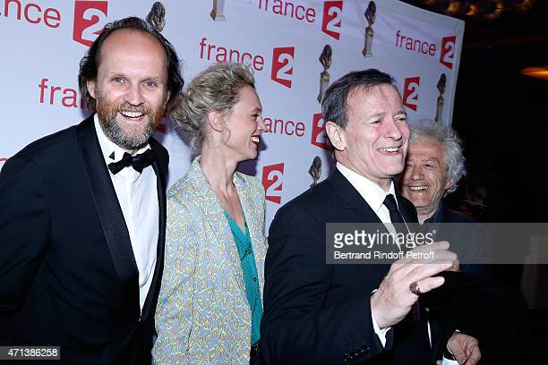 President of 'Molieres' JeanMarc Dumontet Mathilde Penin Francis Huster and JeanLuc Moreau attend the 27th 'Nuit Des Molieres' 2015 Held at Folies...