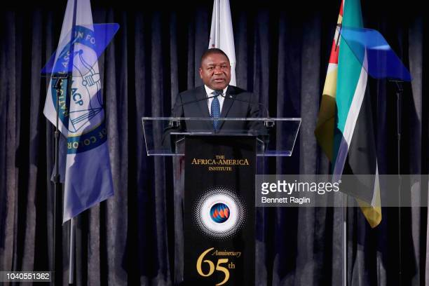 President of Mozambique Filipe Nyusi speaks onstage during the Africa America Institute 65th Anniversary Gala at the American Museum of Natural...